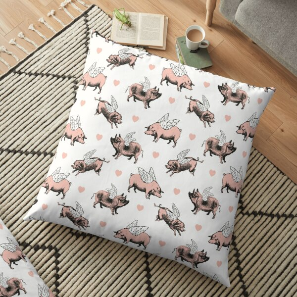Flying Pigs Pattern   Vintage Pigs   When Pigs Fly   Pigs with Wings    Floor Pillow