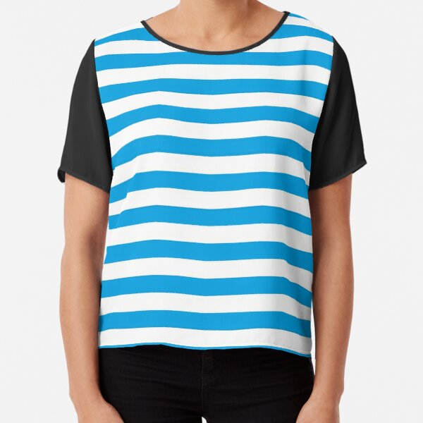 Turquoise Blue and White Stripes | Stripe Patterns | Striped Patterns | Chiffon Top