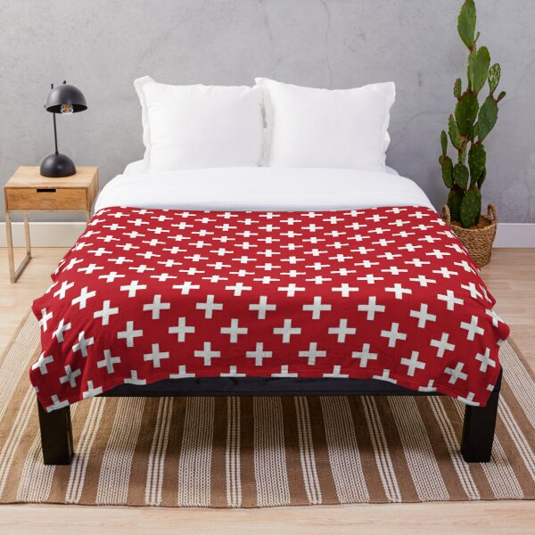 Crosses   Criss Cross   Swiss Cross   Hygge   Scandi   Plus Sign   Red and White    Throw Blanket