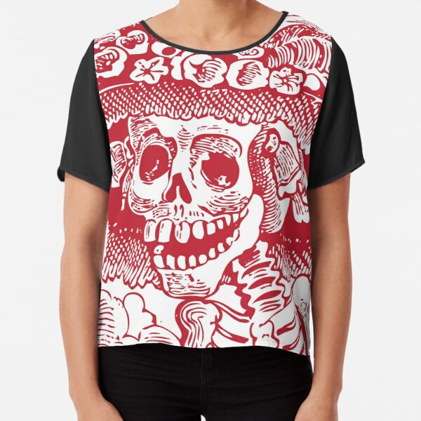 Calavera Catrina | Day of the Dead | Dia de los Muertos | Skulls and Skeletons | Vintage Skeletons | Red and White | Chiffon Top