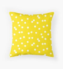 Ditsy classic polka dot pattern in white and yellow colors Throw Pillow