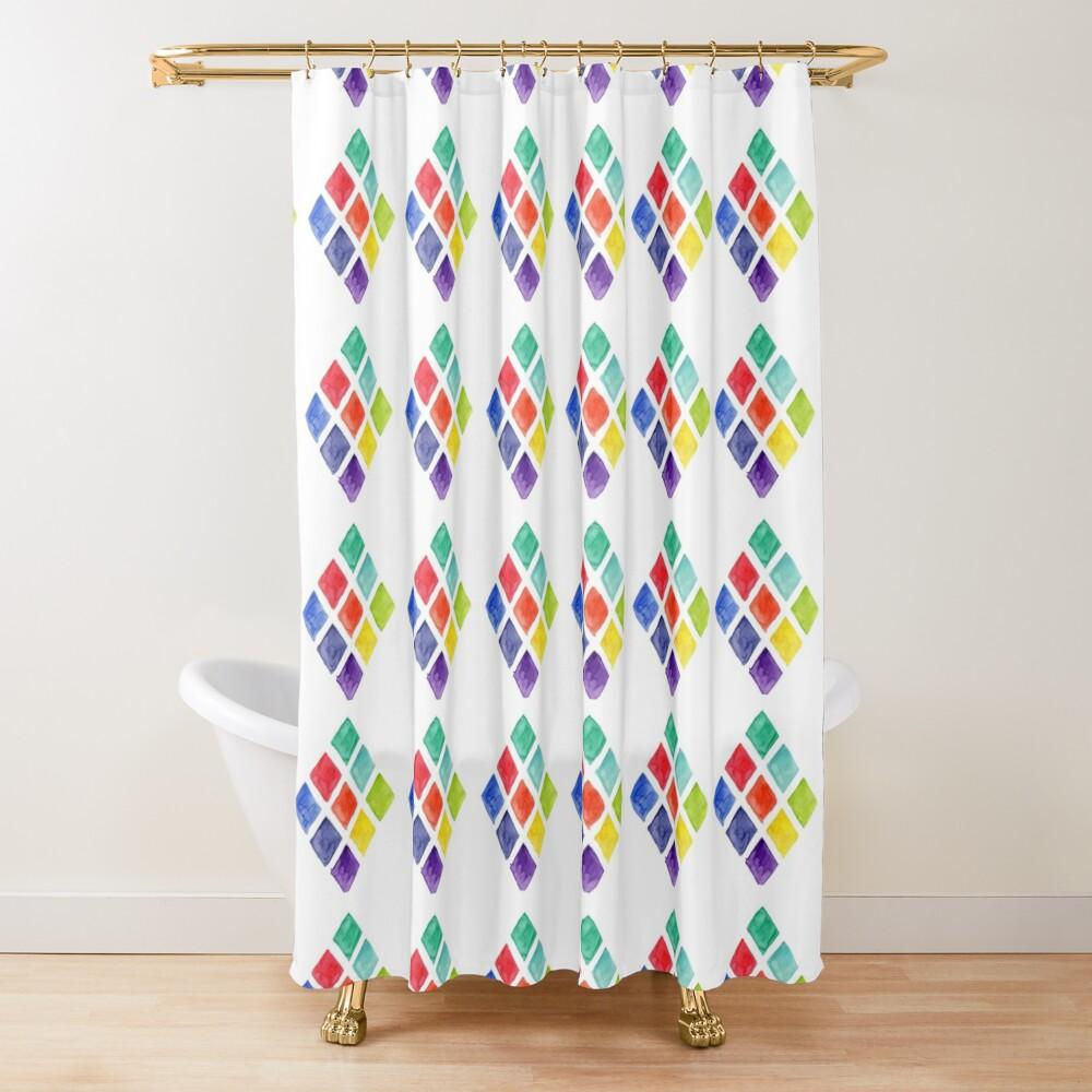 Painted Argyle Shower Curtain
