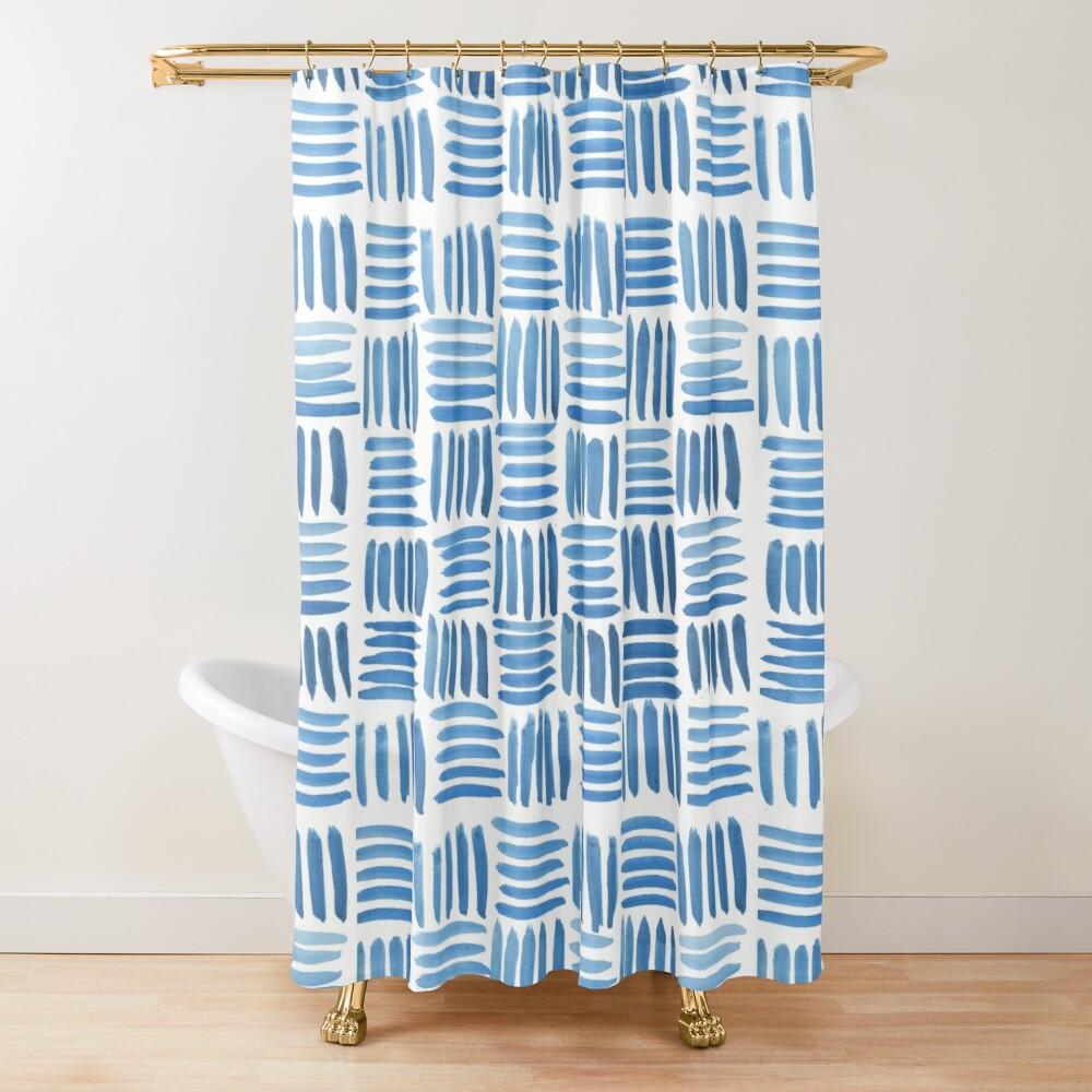 Blue Parquet Shower Curtain