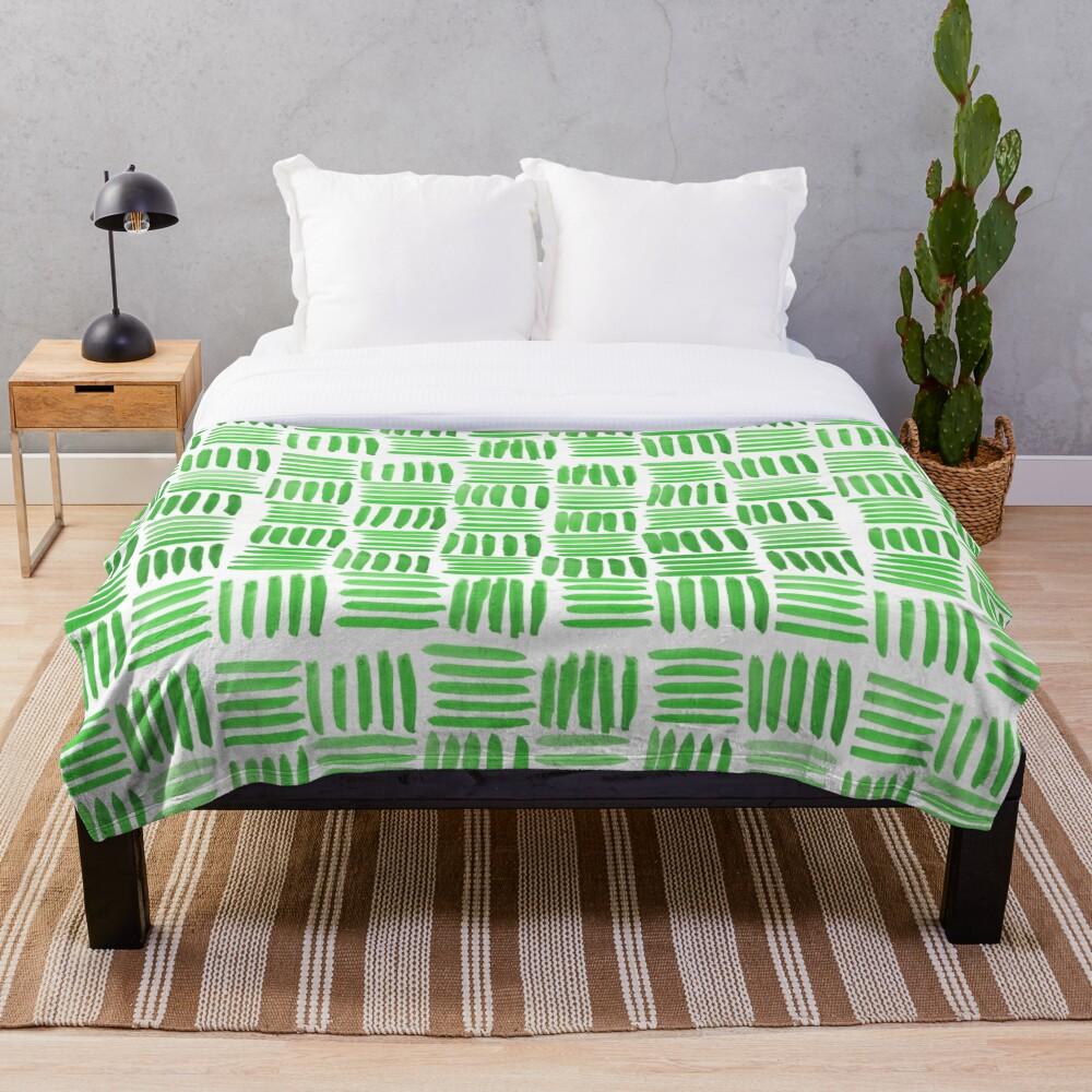 Green Parquet Throw Blanket