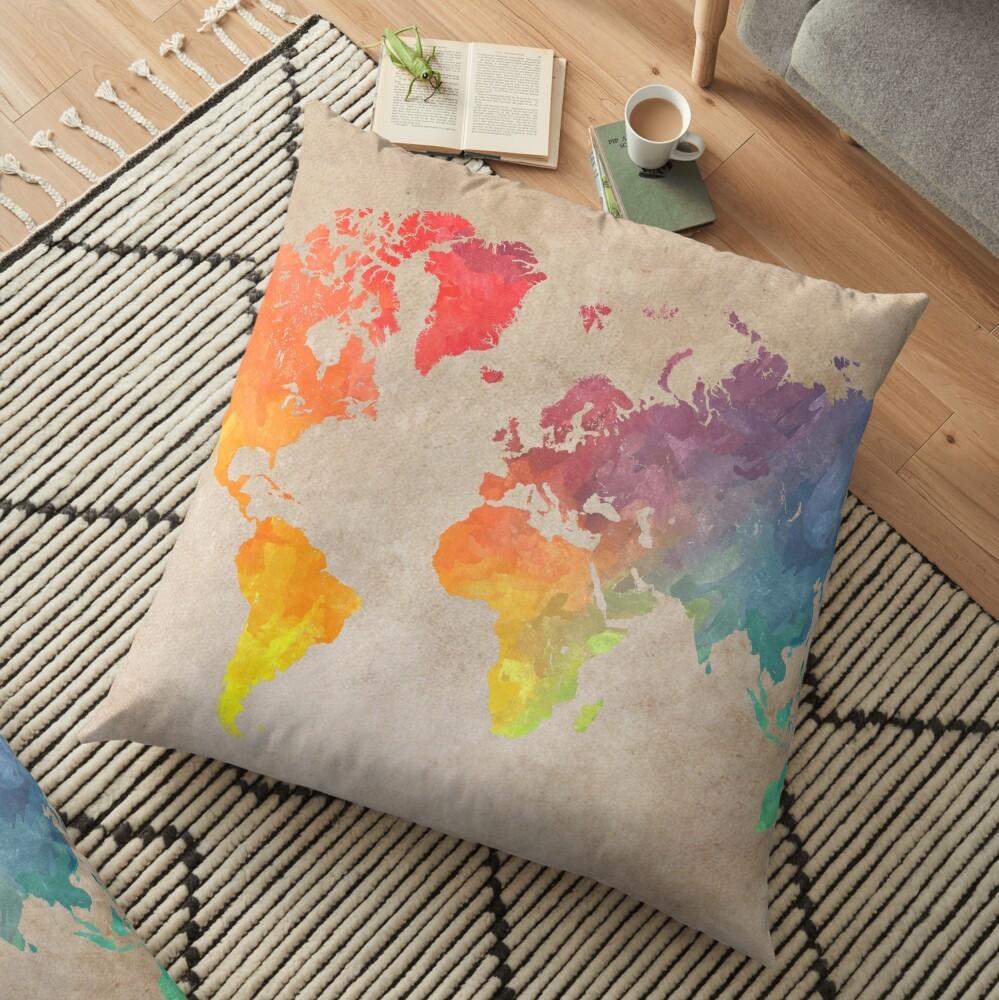 World Map maps Floor Pillow