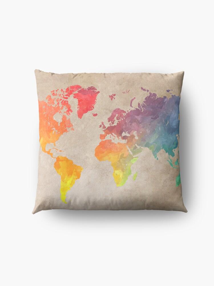 Alternate view of World Map maps Floor Pillow