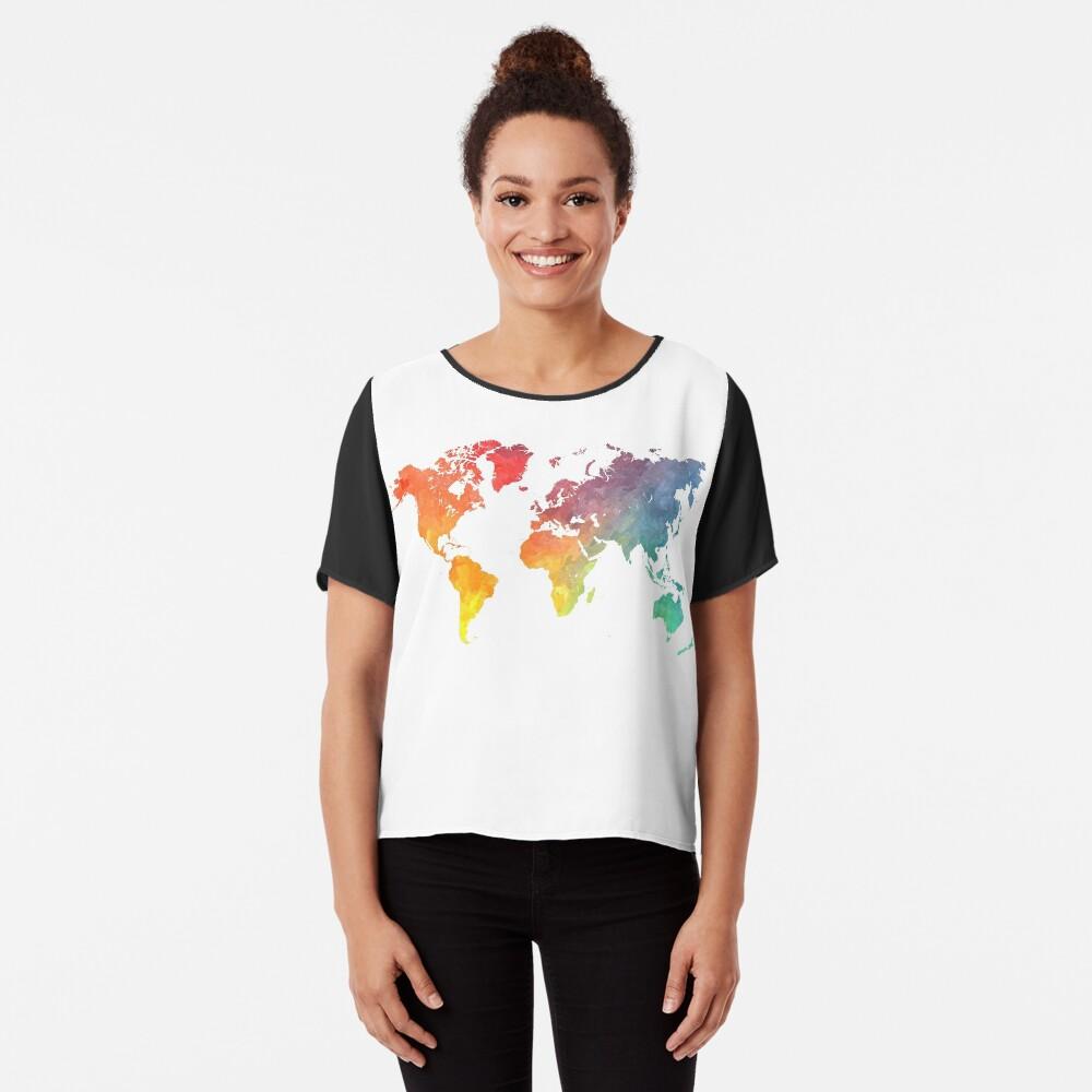 Karte der Welt gefärbt Chiffon Top