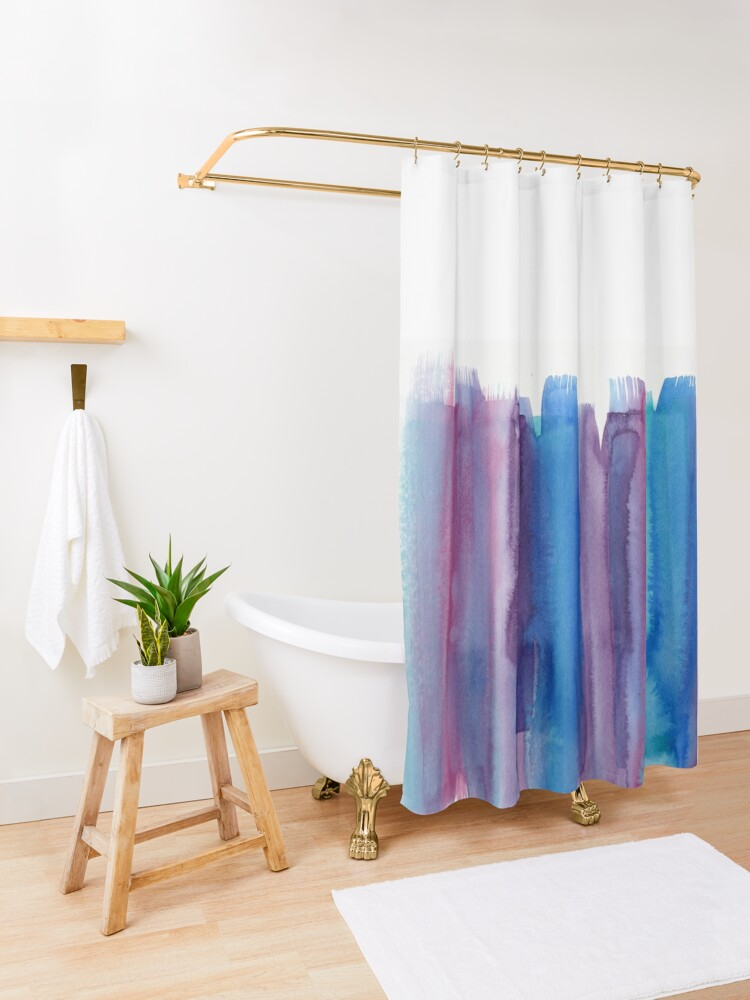 Alternate view of Brushed Watercolor Shower Curtain