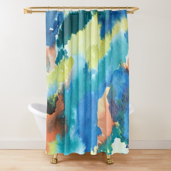 Untitled (Blue, Yellow, Orange and Green)  Shower Curtain