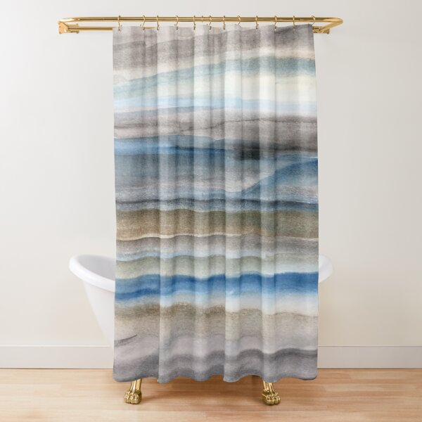Brown and Blue Abstract Shower Curtain