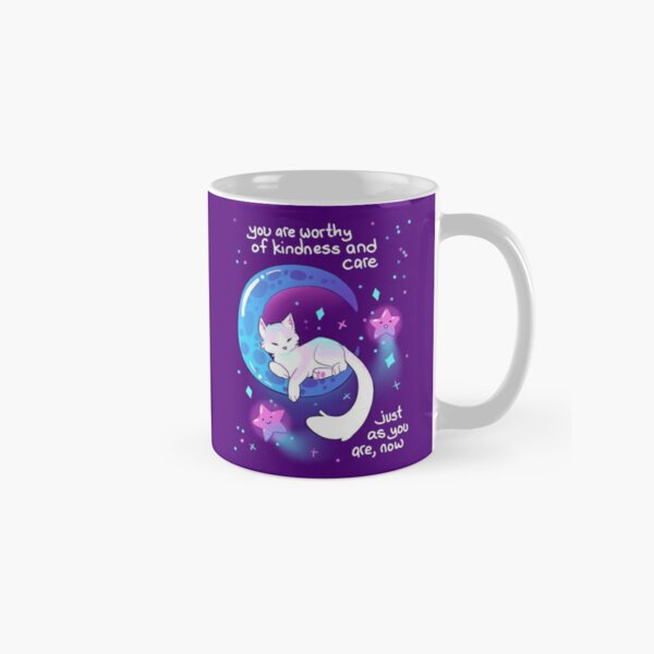 """""""You Are Worthy of Kindness and Care"""" Space Kitty Classic Mug"""
