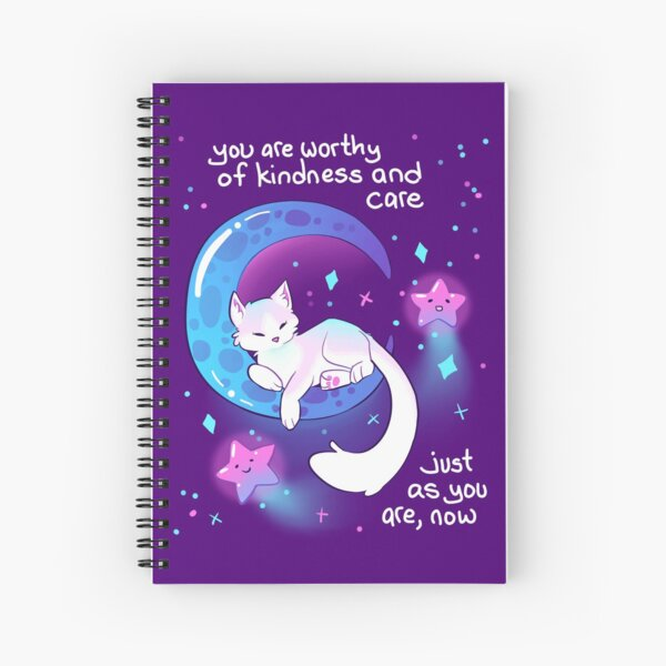 """""""You Are Worthy of Kindness and Care"""" Space Kitty Spiral Notebook"""