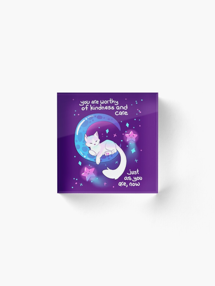 """Alternate view of """"You Are Worthy of Kindness and Care"""" Space Kitty Acrylic Block"""