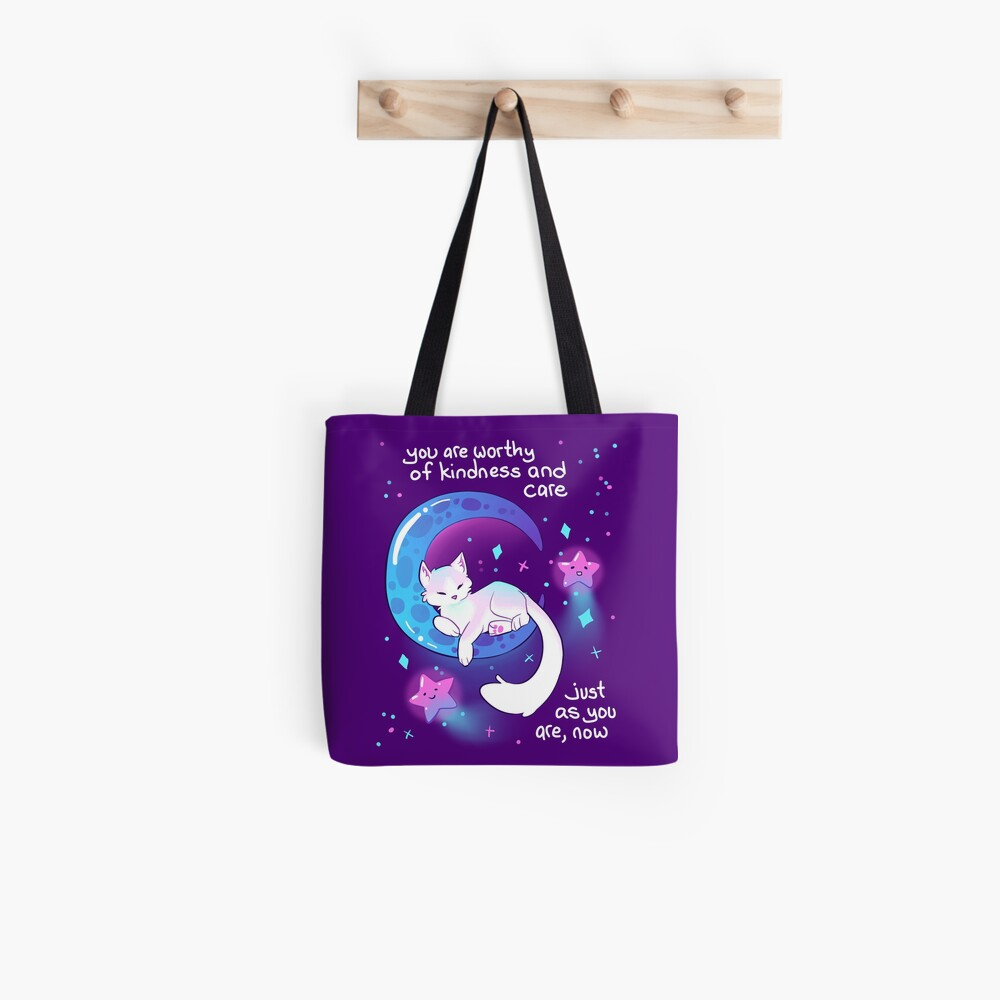 """""""You Are Worthy of Kindness and Care"""" Space Kitty Tote Bag"""
