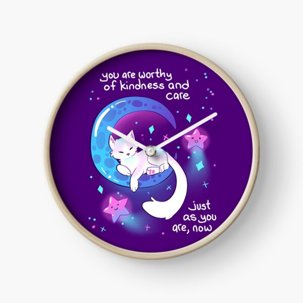 """""""You Are Worthy of Kindness and Care"""" Space Kitty Clock"""