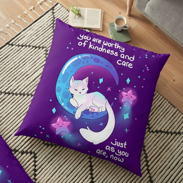 """You Are Worthy of Kindness and Care"" Space Kitty Floor Pillow"