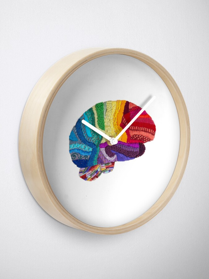 Alternate view of Sampler Brain - Embroidered Look - Rainbow Brain  Clock
