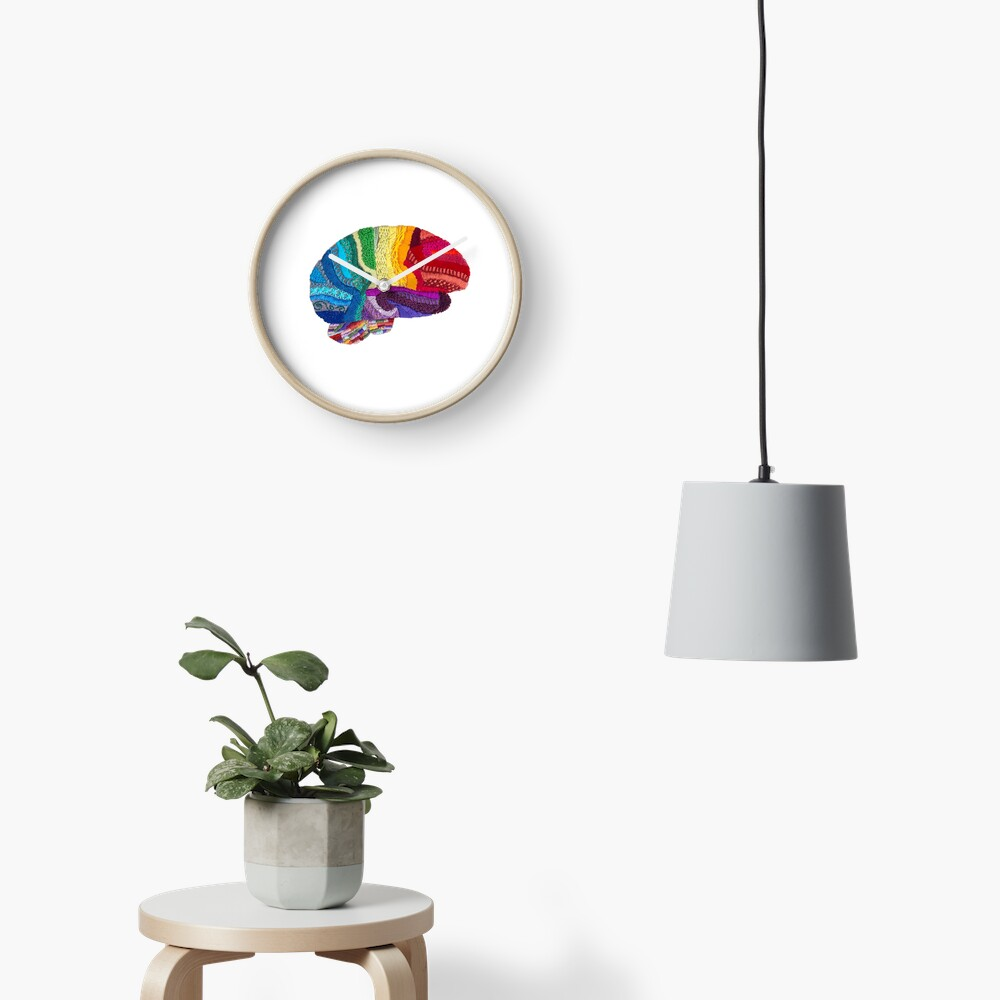 Sampler Brain - Embroidered Look - Rainbow Brain  Clock