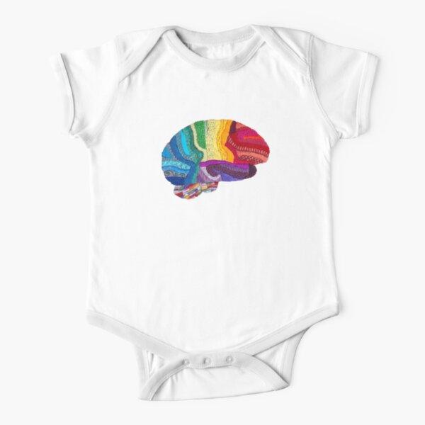 Sampler Brain - Embroidered Look - Rainbow Brain  Short Sleeve Baby One-Piece
