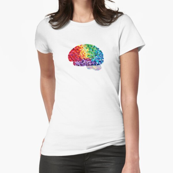 Square the Circle - Embroidered Look - Rainbow Brain by Laurabund Fitted T-Shirt