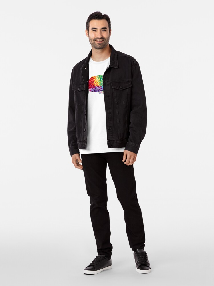 Alternate view of Square the Circle - Embroidered Look - Rainbow Brain by Laurabund Premium T-Shirt