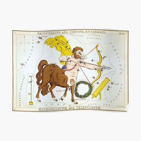 Vintage Sagittarius Constellation Map (1825) Poster