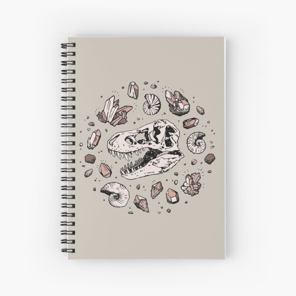 Geo-rex Vortex | Rose Quartz | Dinosaur Skull Fossil Art Spiral Notebook