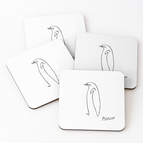 Pablo Picasso Penguin Artwork Shirt, Sketch Reproduction Coasters (Set of 4)