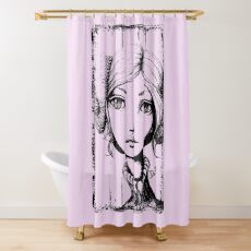 Space Buns - Outline Version Shower Curtain