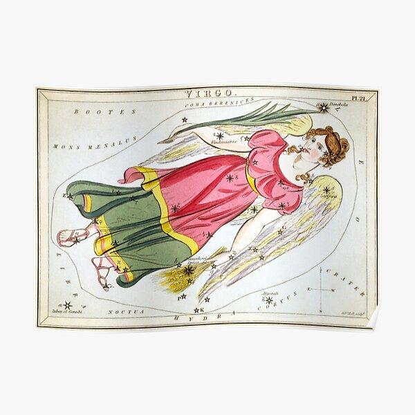 Vintage Virgo Constellation Map (1825) Poster