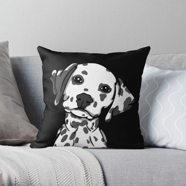 Dalmatian White Grey Spots Throw Pillow