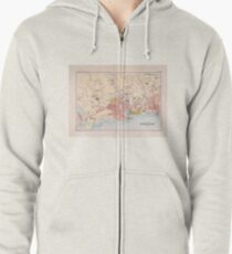 Vintage Singapore Map (1893) Zipped Hoodie