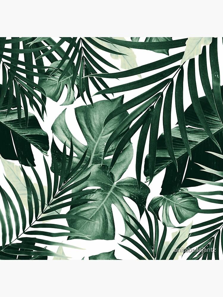 Monstera & Bananenblätter) auf weißem Hintergrund #tropical #decor #art von anitabellajantz