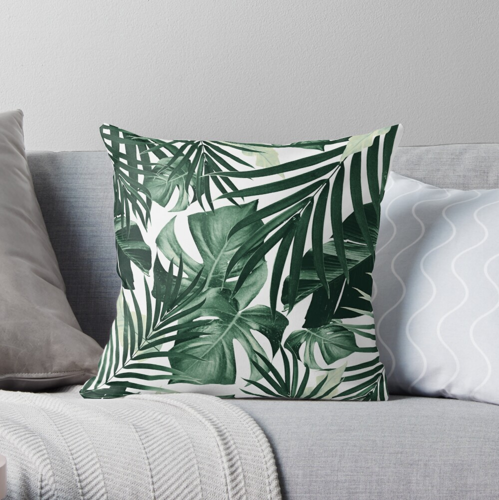 Tropical Jungle Leaves Pattern #4 #tropical #decor #art Throw Pillow