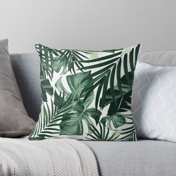 Tropical Jungle Leaves Pattern #4 #tropical #decor #art Throw Pillow