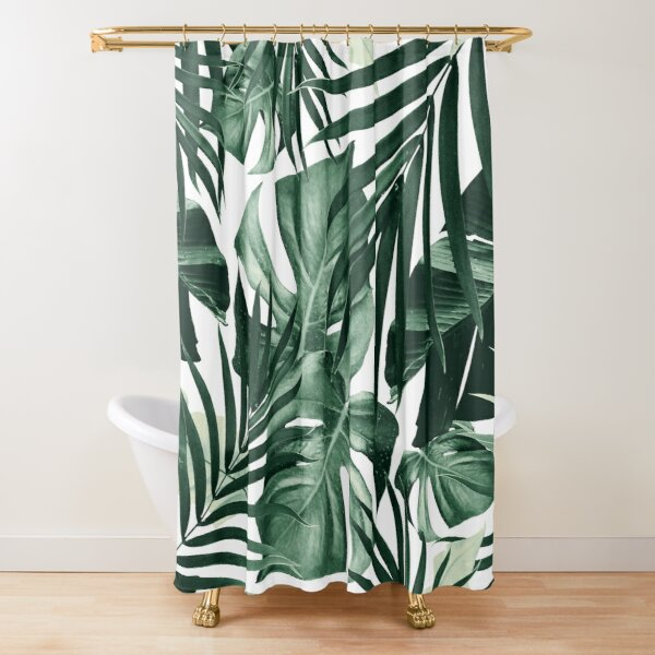 Tropical Jungle Leaves Pattern #4 #tropical #decor #art Shower Curtain