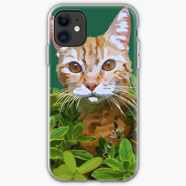 Red cat in bushes iPhone Soft Case