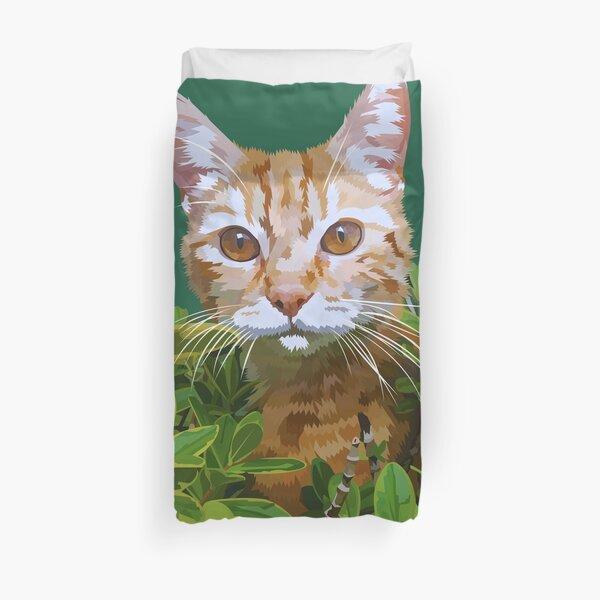 Red cat in bushes Duvet Cover