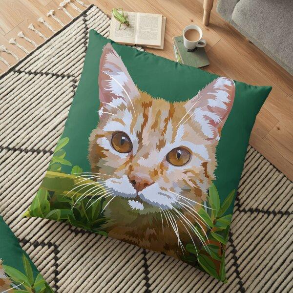 Red cat in bushes Floor Pillow