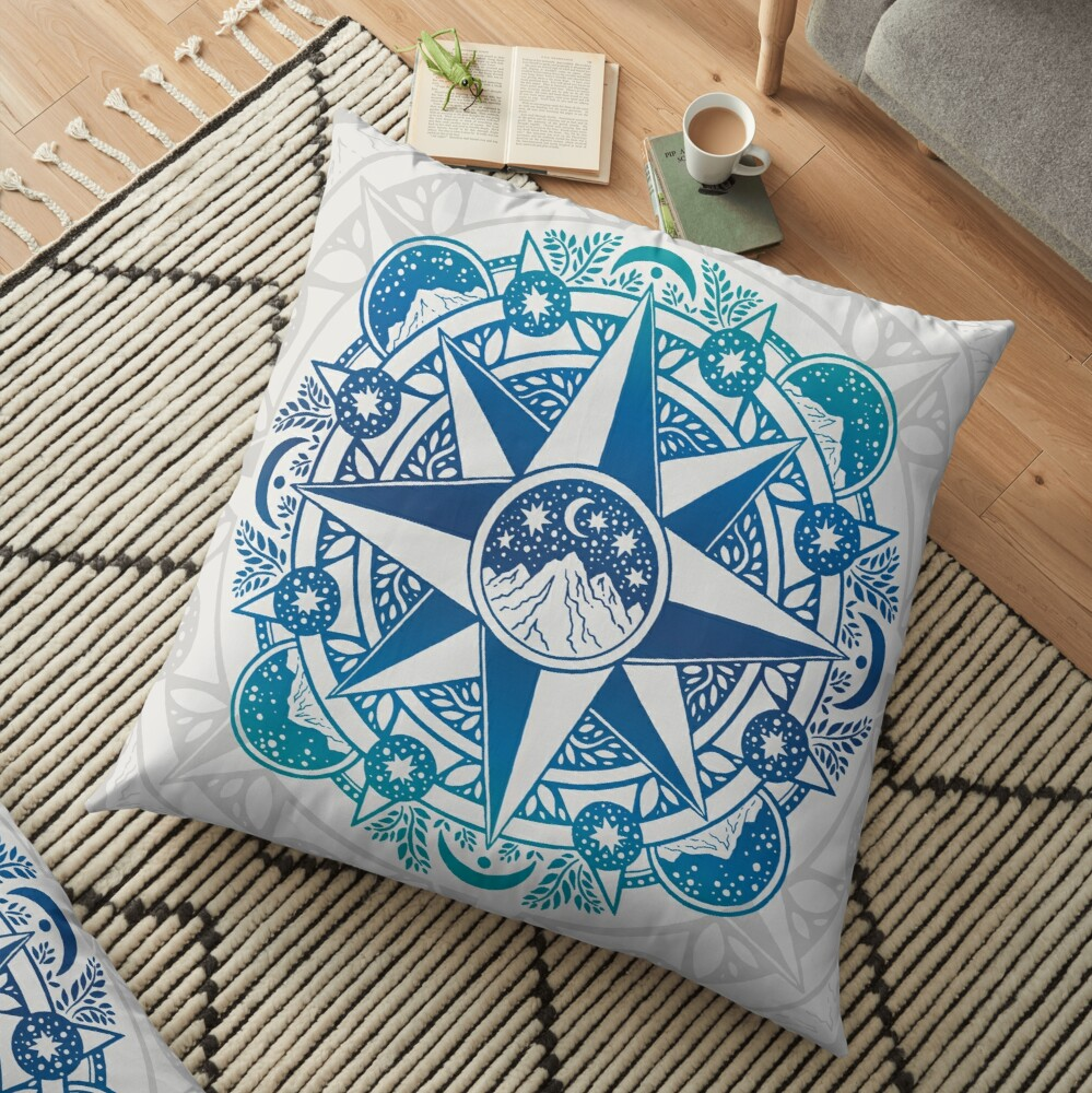 Journey to Moon Mountain | Turquoise Navy Ombré | Mandala Art Floor Pillow