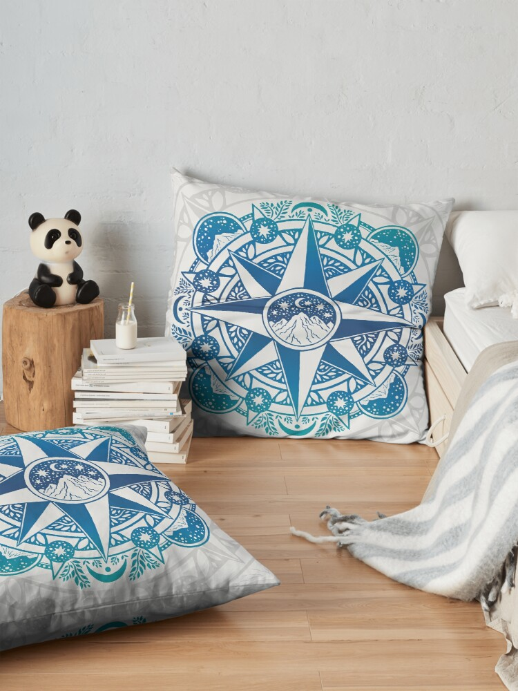 Alternate view of Journey to Moon Mountain   Turquoise Navy Ombré Floor Pillow
