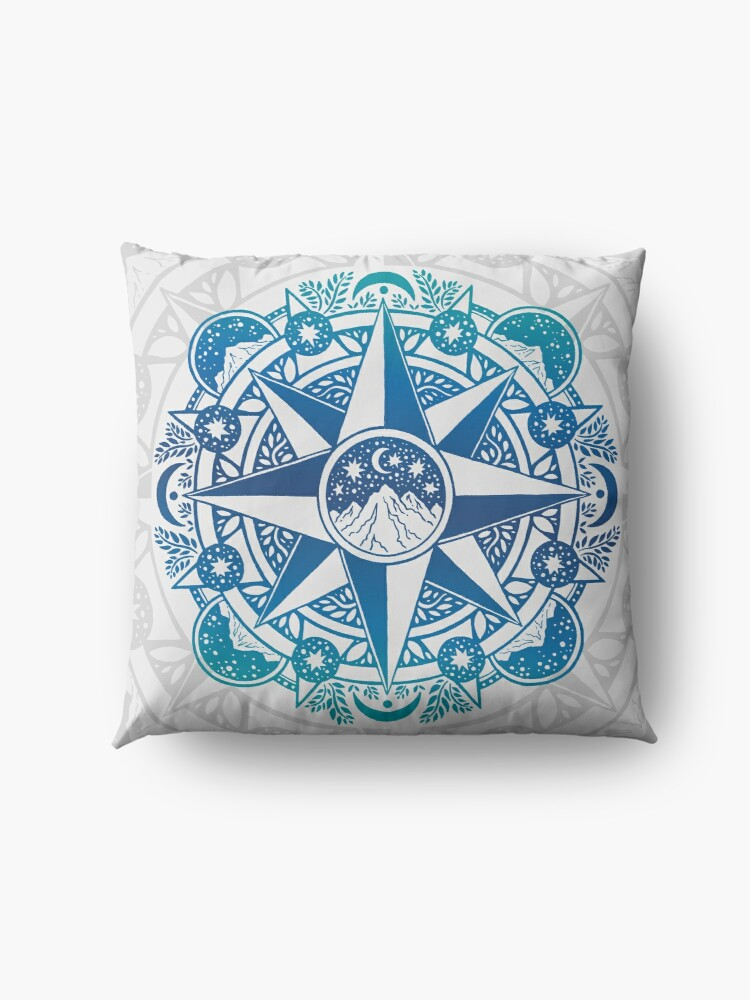 Alternate view of Journey to Moon Mountain | Turquoise Navy Ombré | Mandala Art Floor Pillow