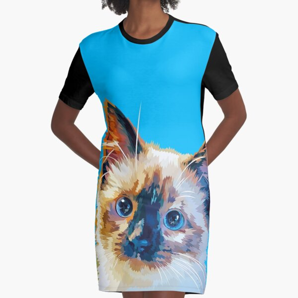 Beautiful cat Graphic T-Shirt Dress