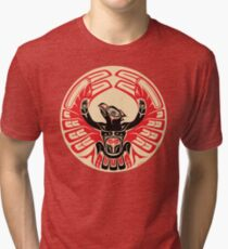 Firebird Thunderbird with Raised Wings, Native American Style Tri-blend T-Shirt