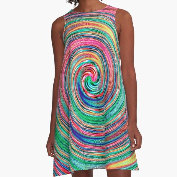 #MOVING #EYE #ILLUSION #Pattern, design, circular, abstract, illustration, art A-Line Dress