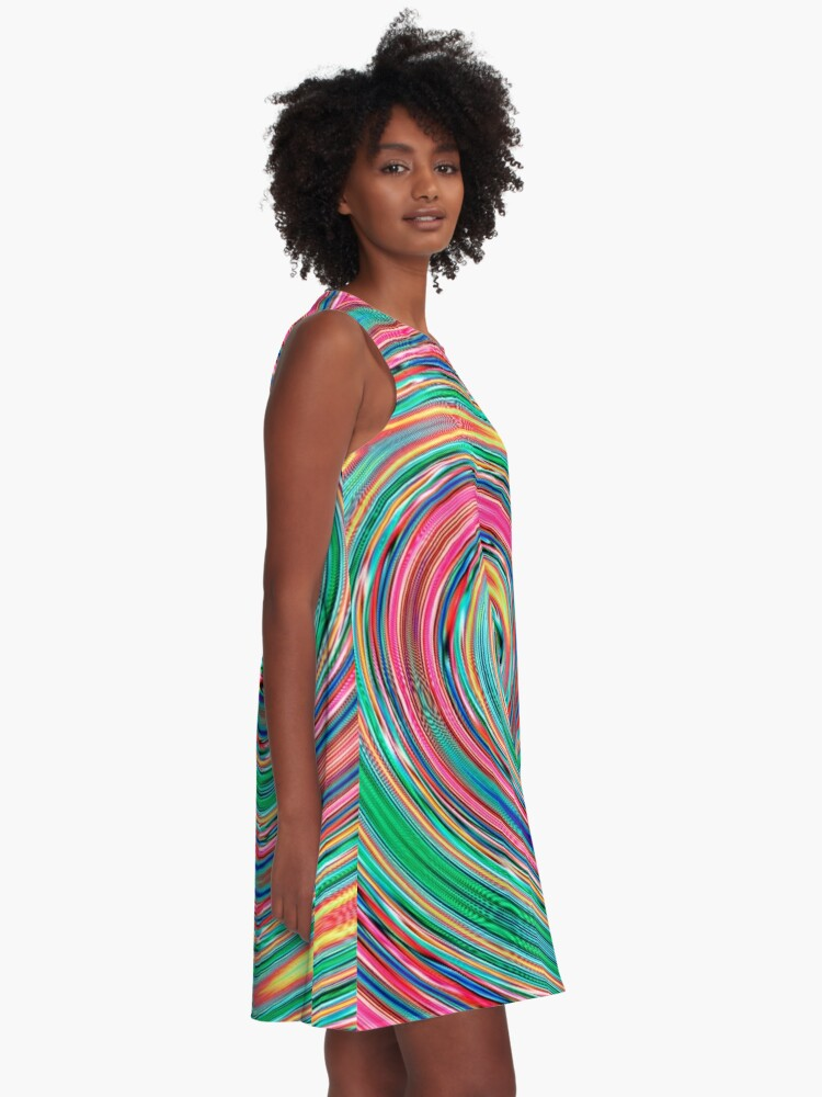 Alternate view of #MOVING #EYE #ILLUSION #Pattern, design, circular, abstract, illustration, art A-Line Dress