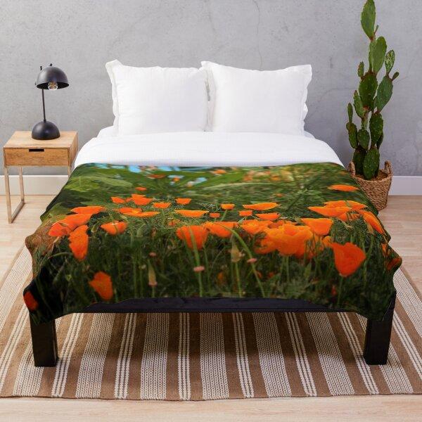 California Poppies In The Garden Throw Blanket
