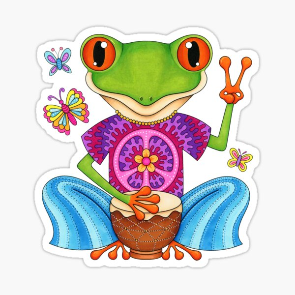 Peace Frog - Colorful Hippie Frog Art by Thaneeya McArdle Sticker