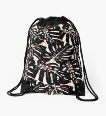 Monstera plant print with big graphic leaves Drawstring Bag