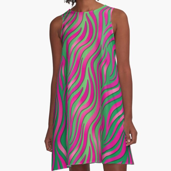 Pink and Green Hot A-Line Dress